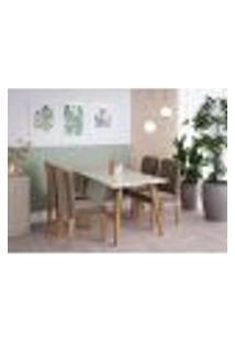 Conjunto De Mesa De Jantar Adele Com Tampo De Vidro Off White E 4 Cadeiras Estofadas Clarice Suede Joli E Madeira