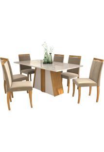 Sala De Jantar Daiana 180Cm Com 6 Cadeiras Madeira/Off White Joli