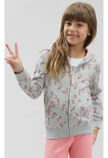 Blusão Infantil Estampado De Unicórnios Com Capuz Em Moletom Cinza Mescla