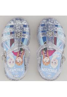 Sandália Infantil Frozen Com Brilho Prateado