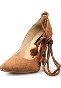 Scarpin Love Shoes Social Bico Fino Salto Alto Lace Up Amarração Marrom - Kanui