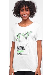 Camiseta Carmim Sneaker Manga Curta Feminina - Feminino-Off White