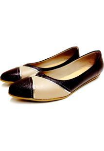 Sapatilha Comfort Bico Fino Buffone Comfort Comfort Detalhe Dourado Marrom