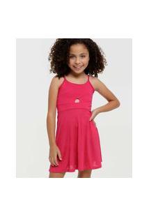 Vestido Infantil Alças Finas Recorte Tam 4 A 10