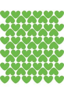 Adesivo De Parede Infantil Corações Verde Claro 55Un - Tricae