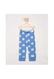 Calça De Moletom Infantil Estampada De Ursos Polares Azul