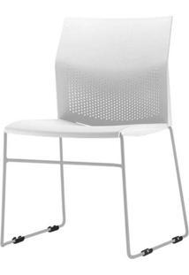 Cadeira Connect Assento Branco Base Fixa Cinza - 53765 - Sun House