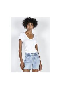 T-Shirt Decote V Branco Branco