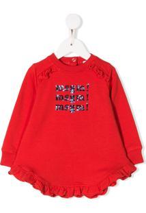 Msgm Kids Vestido De Jersey Com Acabamento De Babados - Vermelho