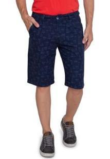 Bermuda Sarja Vizzy Jeans Barcos Masculina - Masculino-Azul