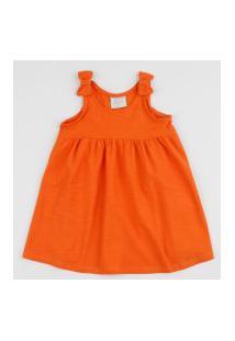 Vestido Infantil Alça Média Com Laço Laranja