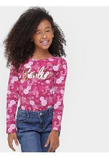 Body Fakini Barbie Floral Infantil - Feminino