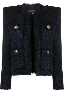 Balmain Tweed Square-Shoulder Jacket - Azul