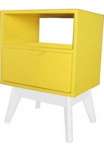Criado Mudo On Com 1 Gaveta Amarelo Base Branca - 47723 Sun House