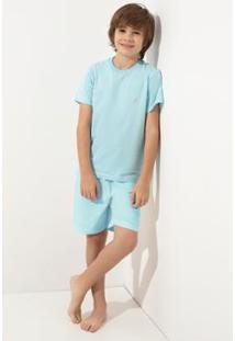 Conjunto Pijama Infantil Acuo Jardim De Primavera Masculino - Masculino-Azul