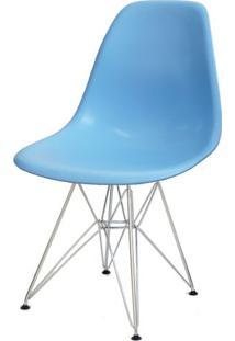 Cadeira Eames Polipropileno Azul Claro Base Cromada - 14908 - Sun House