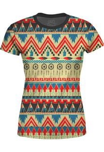 Camiseta Estampada Baby Look Over Fame Tribal Africana Multicolorida