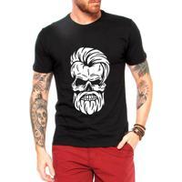 8cbf323ee856f Camiseta Criativa Urbana Caveira Barber - Masculino-Preto