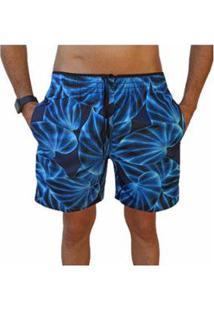 Bermuda Short Folhas Moda Praia Relaxado Estampado Masculina - Masculino-Azul