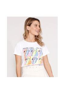 Camiseta Da Banda The Rolling Stones Manga Curta Decote Redondo Off White