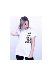 Camiseta Corte A Fio Bilhan Wild World Gde Branca