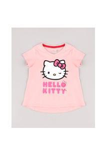 Blusa Infantil Hello Kitty Com Brilho Manga Curta Rosa