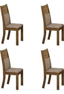 Conjunto Com 4 Cadeiras Havaí Ipê E Cinza
