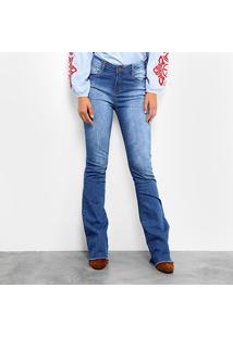 ba960d815143 Calça Jeans Flare Mob Estonada Cintura Alta Feminina - Feminino