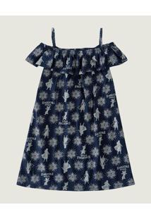 Vestido Evasê Frozen® Malha Malwee Kids Azul - 10