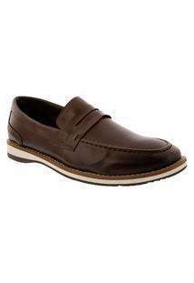 Sapato Social Valença Com Recortes Marrom