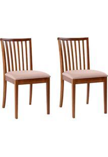 Conjunto De 2 Cadeiras De Jantar Kindon Castanho E Bege