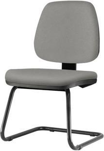 Cadeira Job Assento Courino Cinza Claro Base Fixa Preta - 54559 Sun House