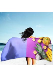 Toalha De Praia / Banho Frutas Tons Roxos