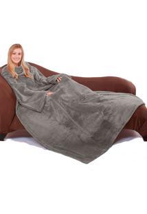 Cobertor Tv Com Mangas Microfibra 1,35X1,70M - Grafite