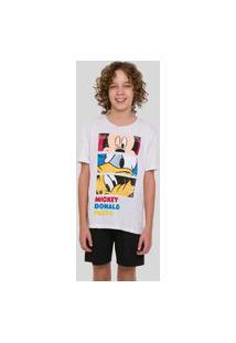 Pijama Curto Juvenil Masculino Em Malha Com Estampa Mickey Pato Donald E Pluto - 53030009