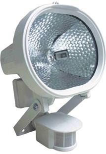 Refletor Halógeno 500W Bivolt Com Sensor De Presença Branco