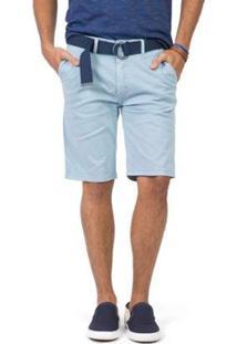 Bermuda Chino Flex Com Cinto Masculina - Masculino-Azul
