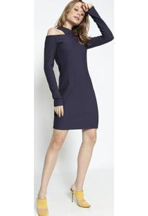 Vestido Canelado Com Recorte- Azul Escuro- Colccicolcci