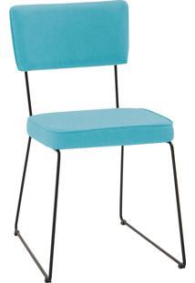 Cadeira Roma Aço Tecido Daf Azul Turquesa
