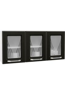 Armário Triplo 3 Portas Telasul Estar Com Vidro Branco Com Preto