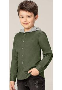Camisa Verde Em Sarja Com Capuz