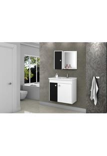 Gabinete Banheiro Com Pia Munique Branco_Preto