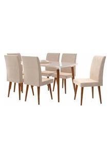 Conjunto Mesa De Jantar Jade C/ 6 Cadeiras 1,70X0,90 Pés Palito White Rv Móveis Bege
