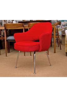 Cadeira Saarinen Executive Inox (Com Braços) Tecido Sintético Branco Soft D006