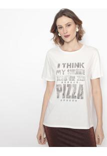 Camiseta Com Inscriã§Ãµes- Off White & Cinza Claro- Cacanal