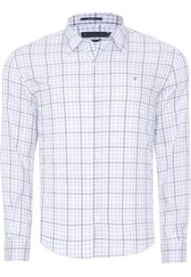 Camisa Masculina Xadrez Melange - Branco