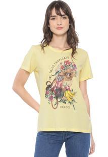Camiseta Colcci Estampada Amarela