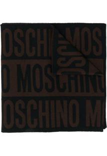 Moschino Cachecol De Lã Com Logo - Marrom