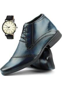Bota Social Dhl Calçados Com Cadarço Masculina + Relógio - Masculino-Azul