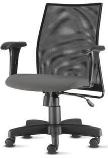 Cadeira Liss Com Bracos Curvados Assento Crepe Cinza Escuro Base Metalica Preta - 54653 Sun House